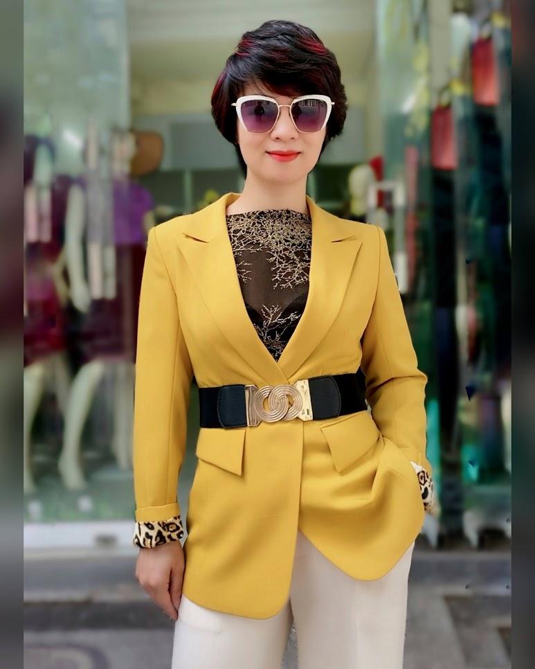 Áo vest nữ công sở màu vàng mix quần ống suông V741 thời trang thủy quảng ninh