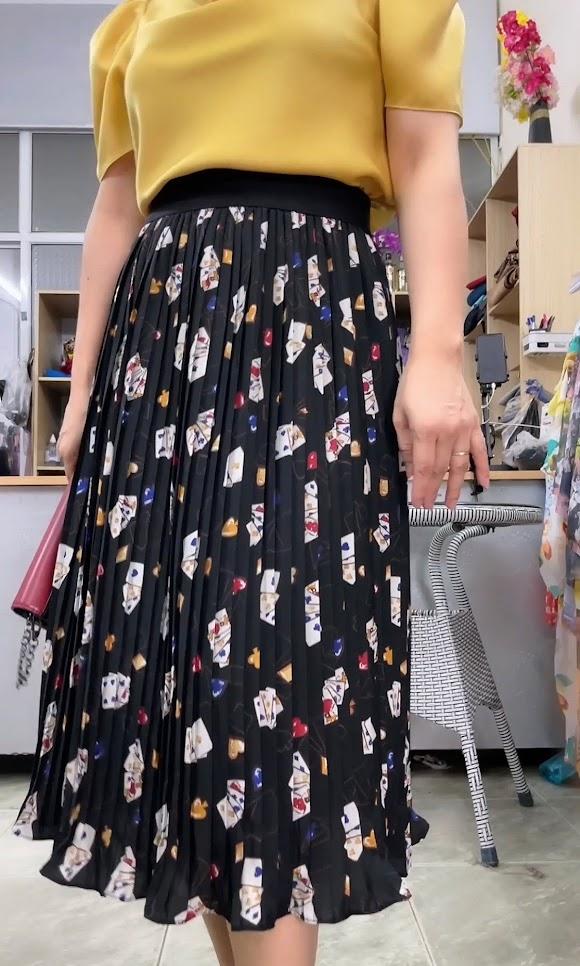 chân váy xòe xếp ly dập V762 thời trang thủy hải phòng