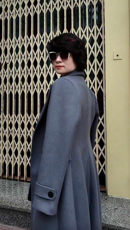 Áo khoác măng tô nữ vải dạ màu ghi xám V750 thời trang thủy hà nội 3