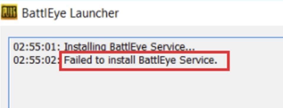 Fix for Failed to install BattlEye Service error