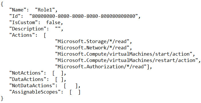 You create the following Azure role definition.