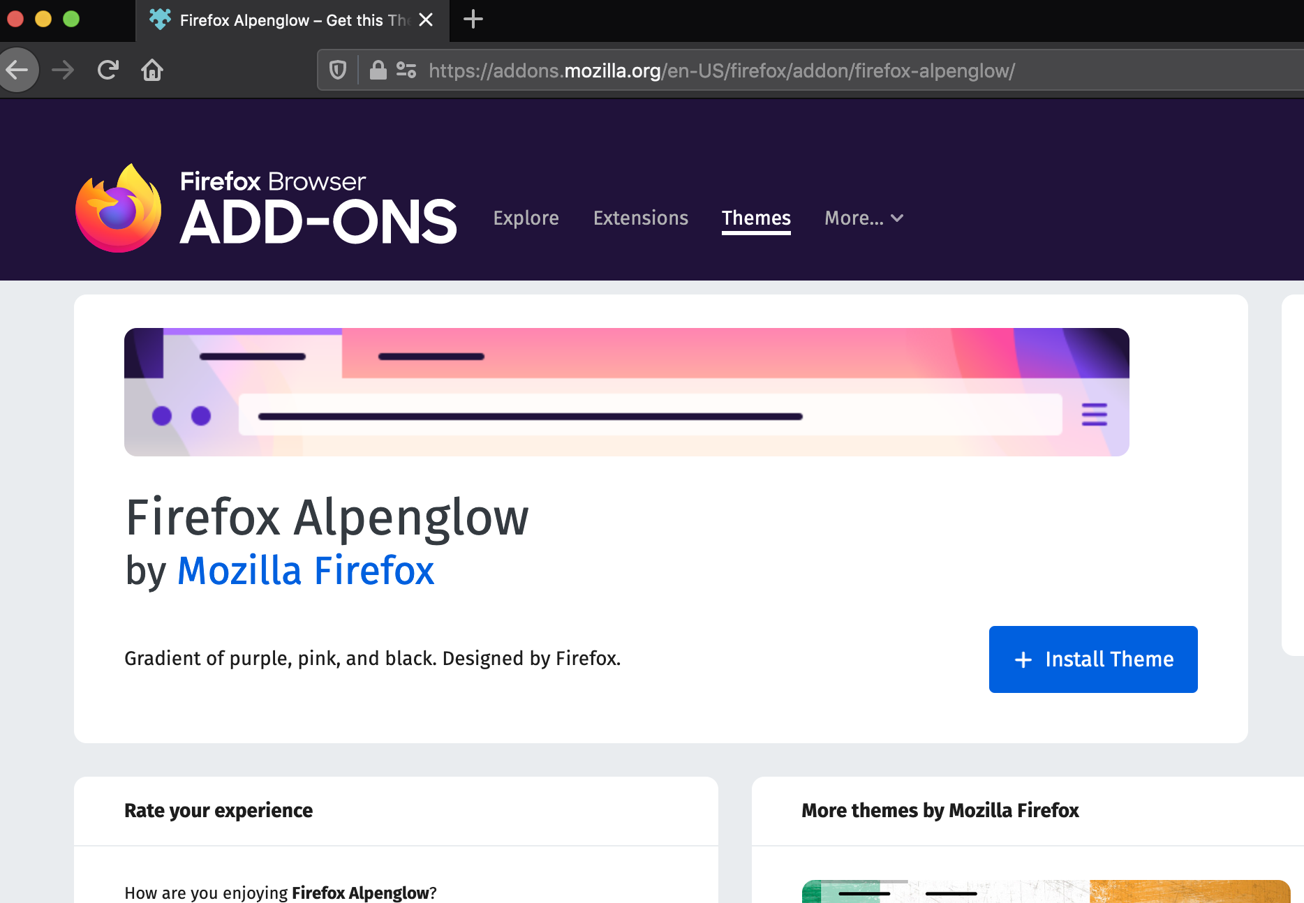 Browse to the Firefox Alpenglow theme add-on page.