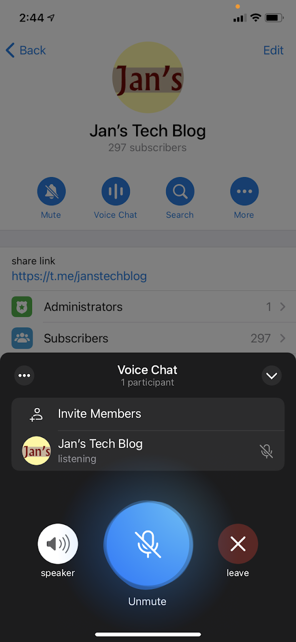 New Voice Chat by Telegram, a Clubhouse clone?