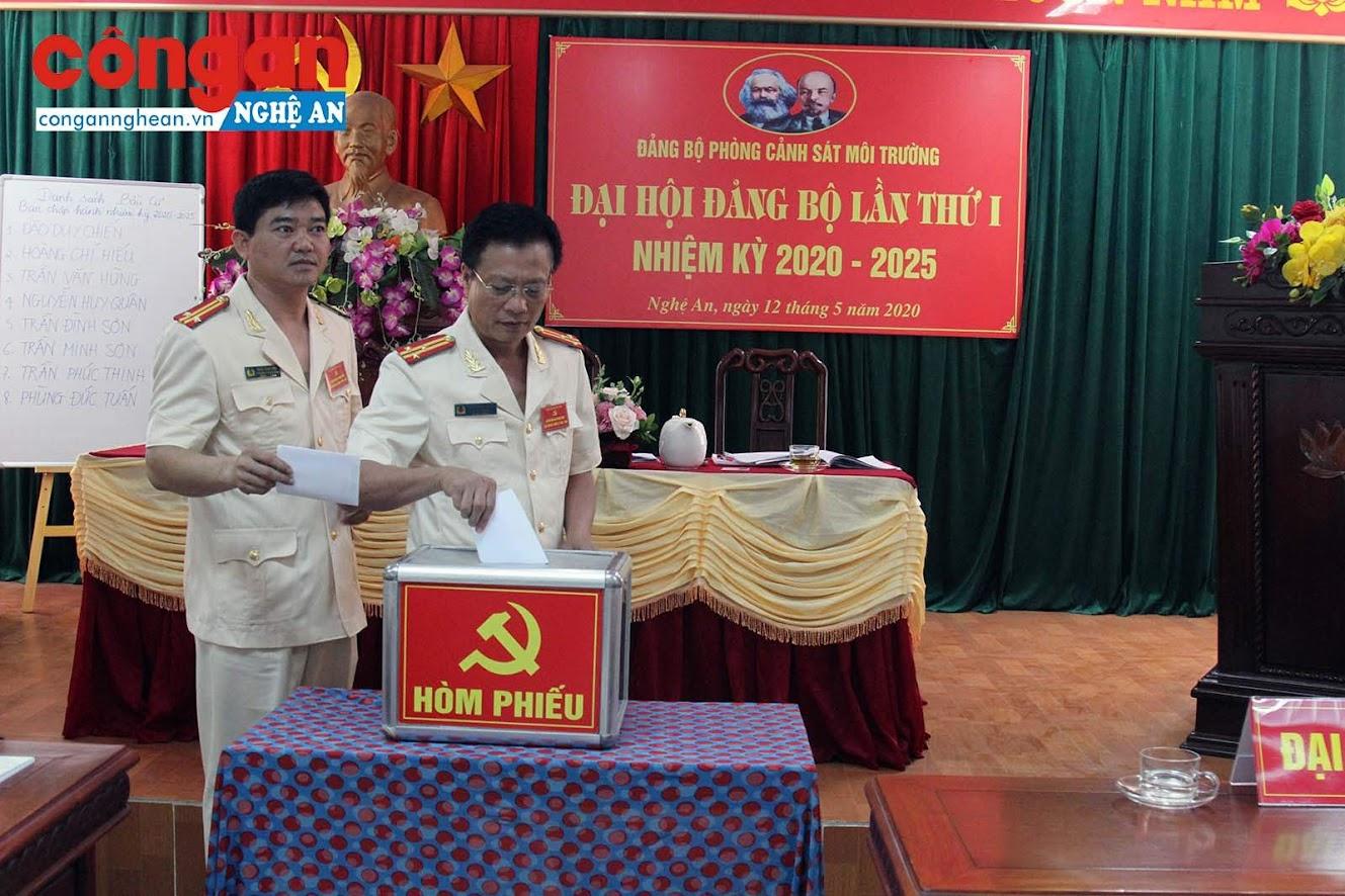 Các đại biểu bỏ phiéu bầu BCH Đảng bộ nhiệm kỳ mới