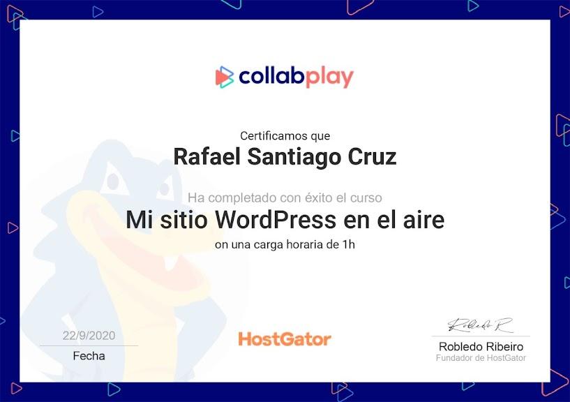 Mi sitio wordpress al aire Rafael Santiago