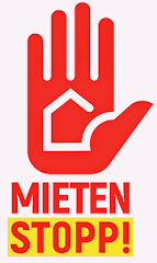 Mietenstopp-Logo: Handfläche mit stilisiertem Haus. «Mieten stopp!».