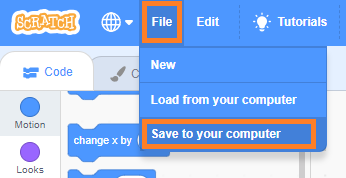 Scratch 3.0: Lưu project vào máy tính