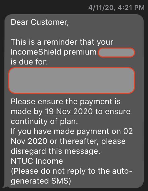 NTUC insurance SMS.