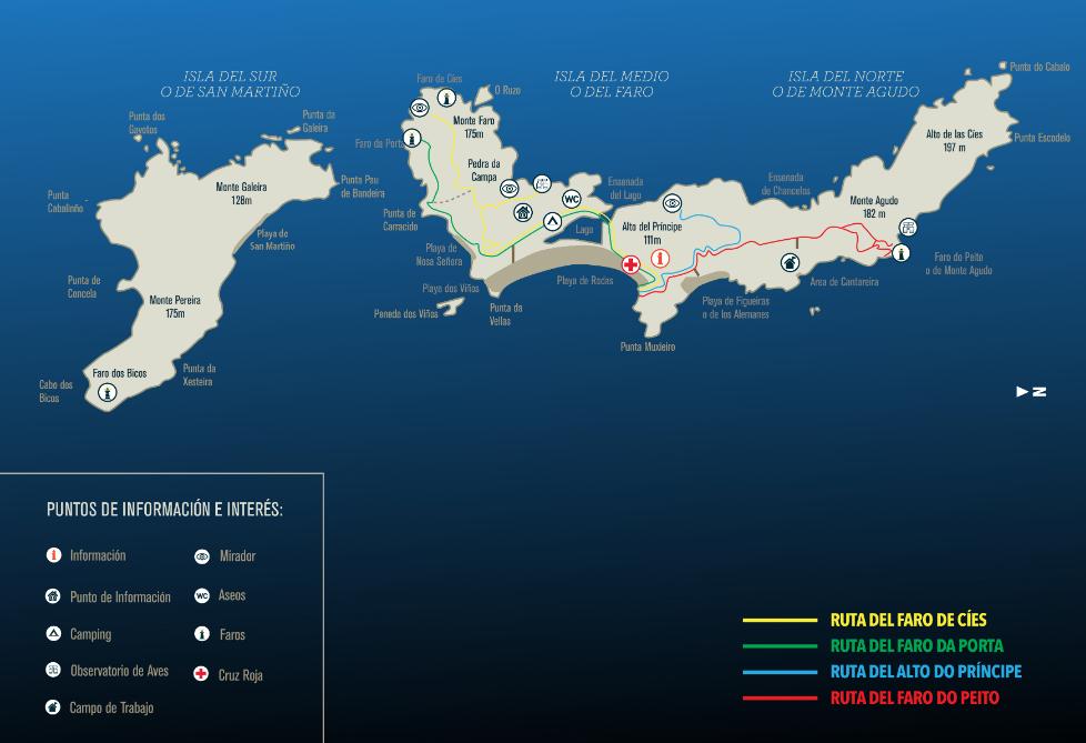 mapa senderismo islas cíes