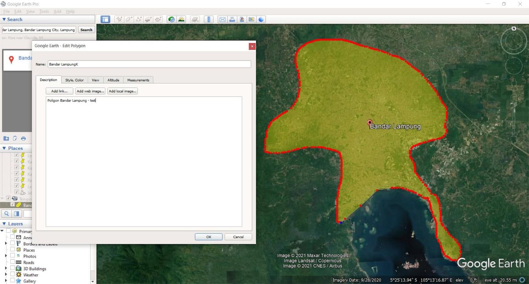 Dijitasi poligon di Google Earth