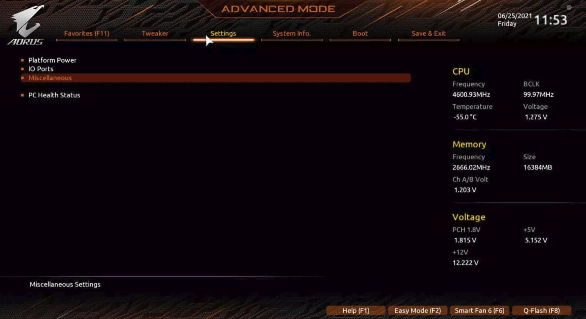 Enable TPM 2.0 for GIGABYTE motherboard using AORUS: Navigate to the Settings tab and double-click on the Miscellaneous option.