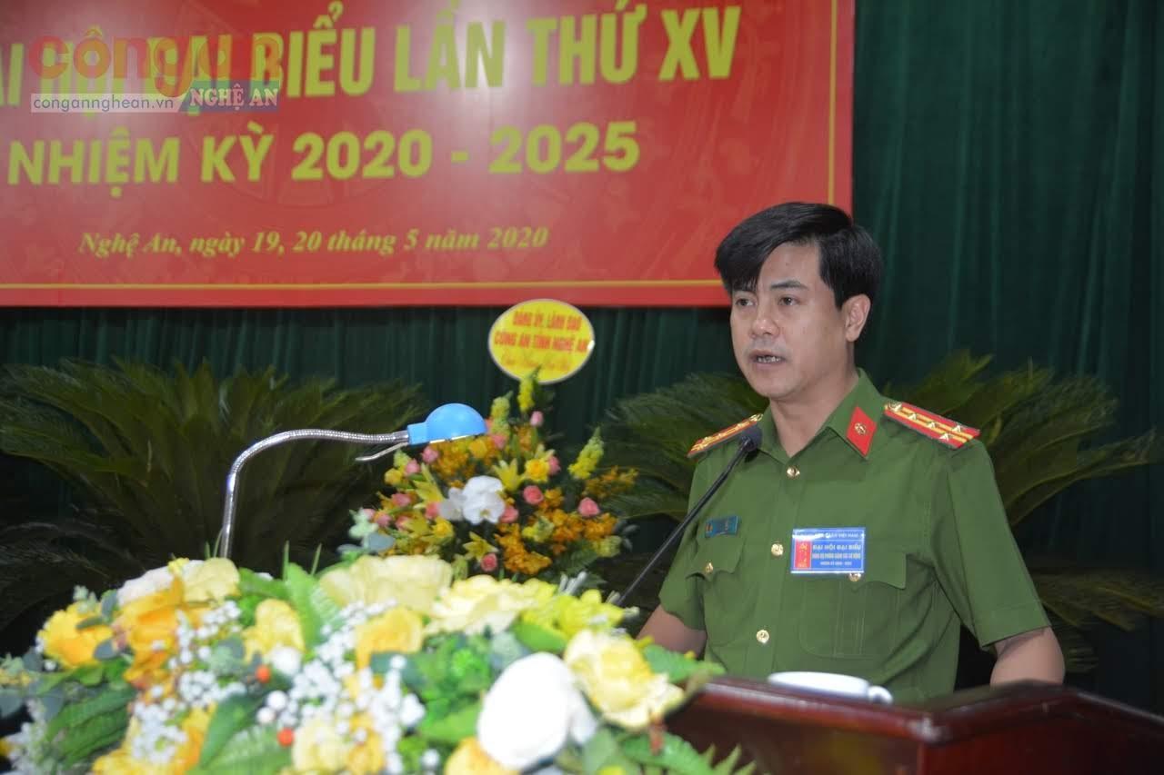 Đại tá Nguyễn Đức Hải - Ủy viên BTV Đảng ủy, Phó Giám đốc Công an tỉnh phát biểu chỉ đạo tại Đại hội