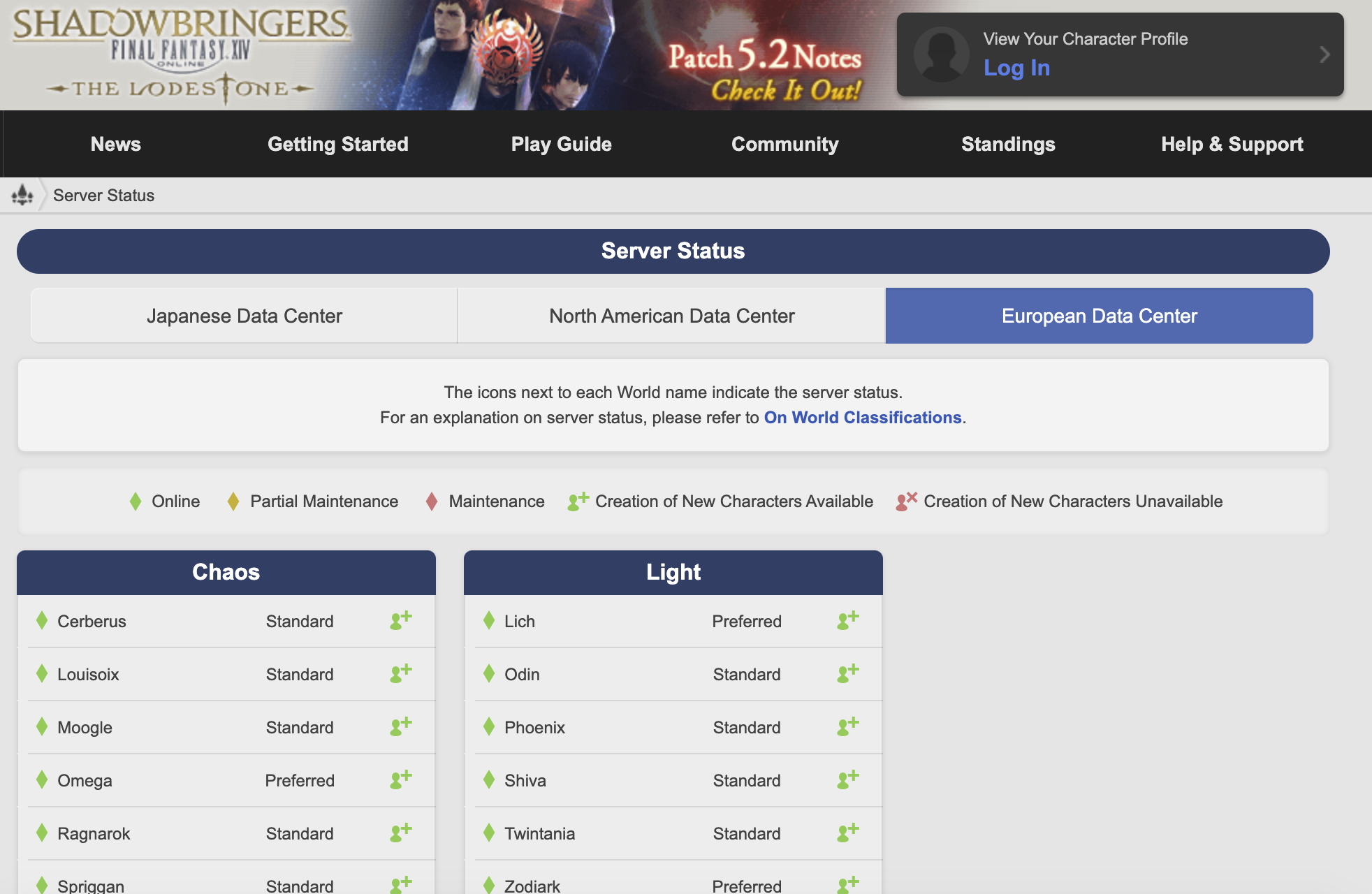 server status page of FFXIV