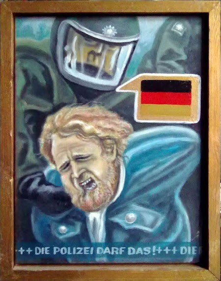 Gouache von Walter Stehling. Titel: «Die Polizei darf das!»