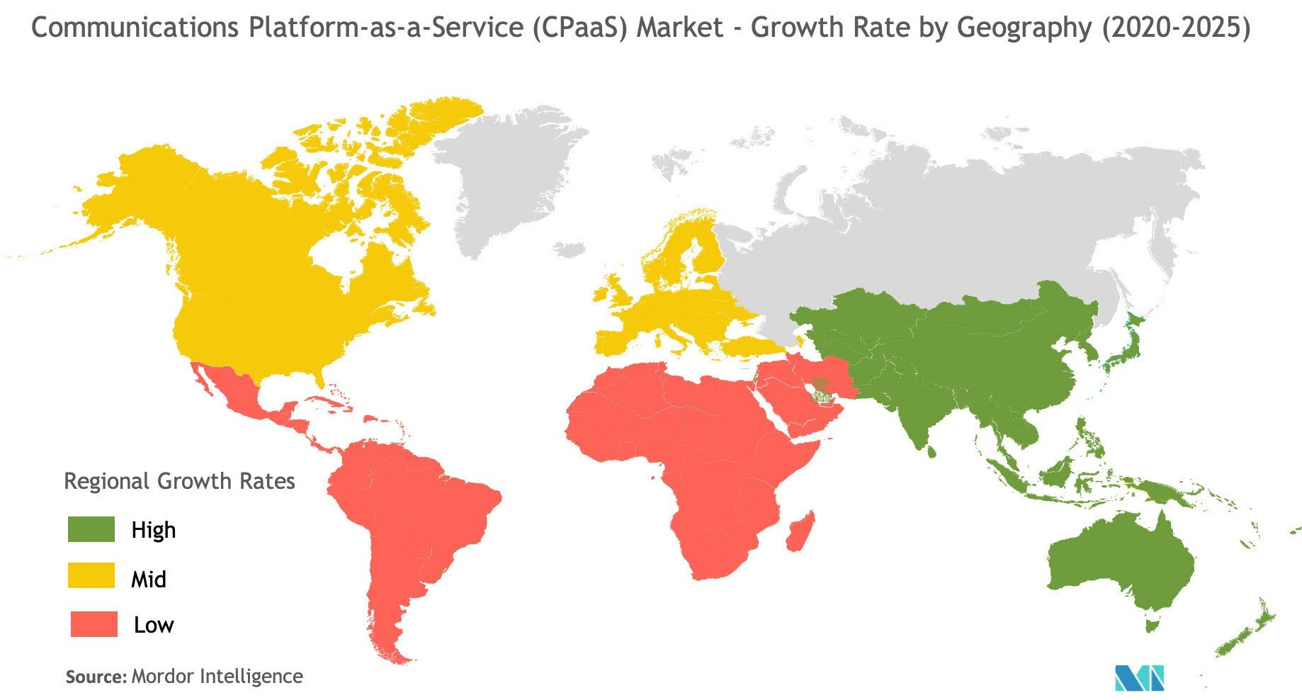 Communications Platform-as-a-Service CPaaS Market - Growth Rate by Geograohy (2020-2025)