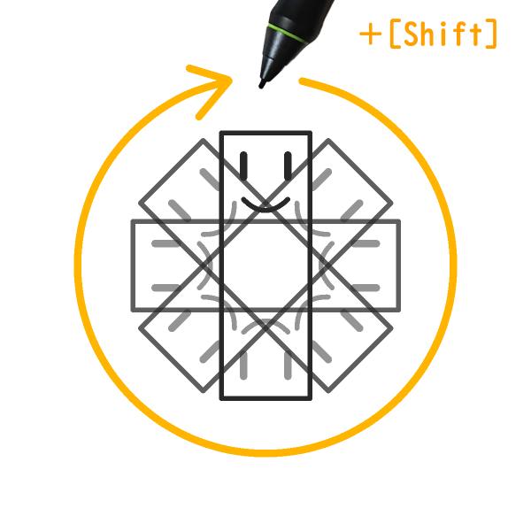 クリスタ:回転(Shift)