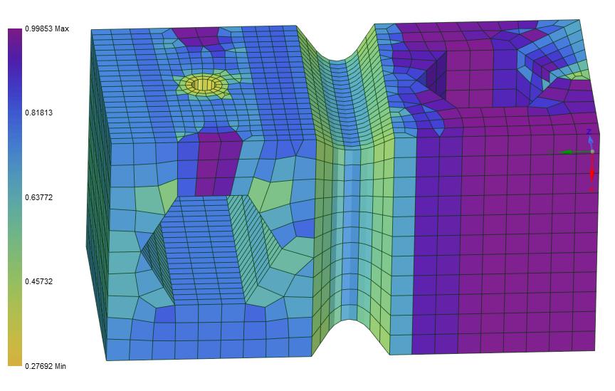 Для проверки качества сетки можно вывести наглядные цветовые распределения по нескольким критериям