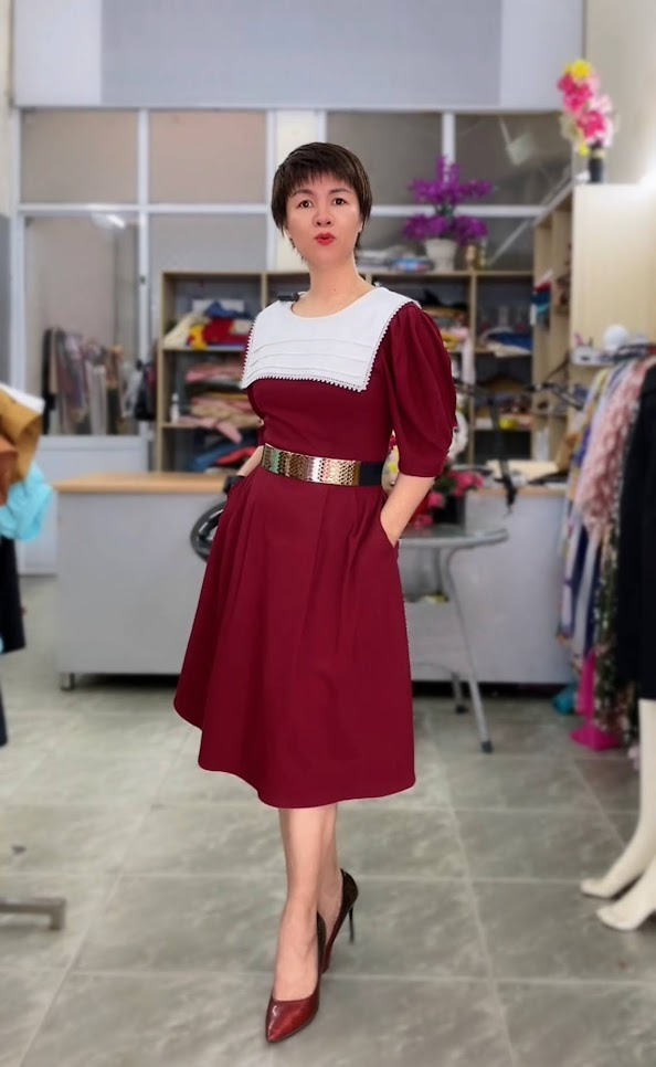 Review 5 ưu điểm váy xòe midi cổ yếm tay bồng thời trang thủy đà nẵng