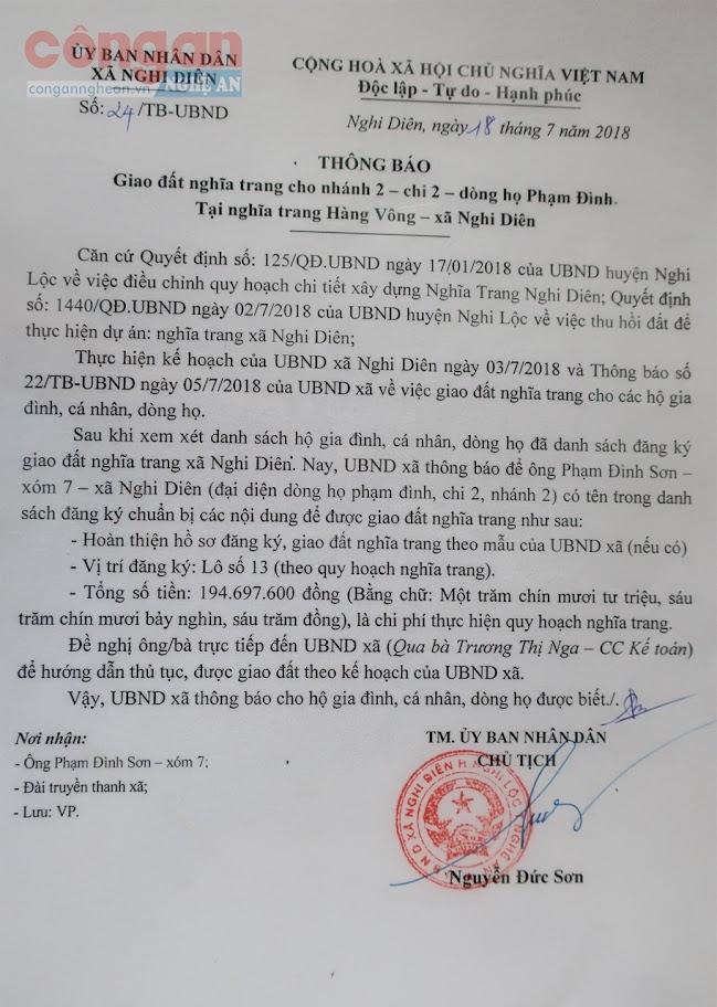 Thông báo giao đất của UBND xã  Nghi Diên ghi rõ số tiền, số lô đất