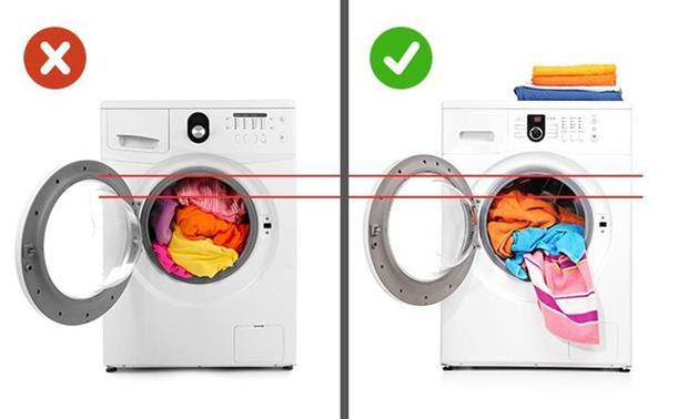 Chú ý đến khối lượng quần áo giặt