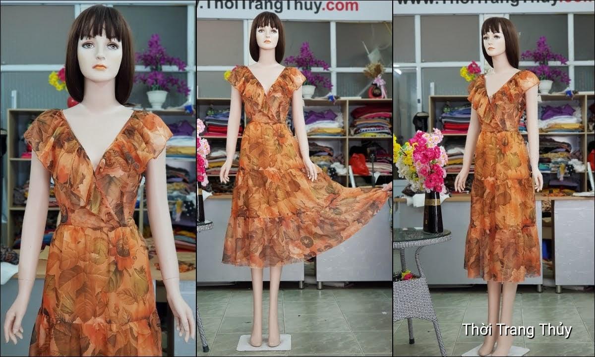 Váy đầm xòe mặc dự tiệc đi biển cổ chữ V717 thời trang thủy hải phòng