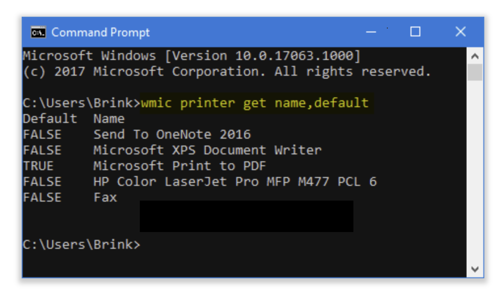 Command to the list of installed printers and the currently set default printer will have TRUE showing in the Default column to the left of the printer name.
