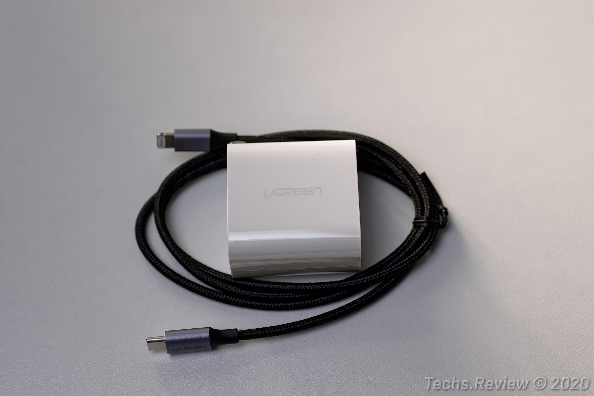 Cáp USB-C ra Lightning Ugreen 60759 và Sạc nhanh 2 cổng 18W Ugreen 70512