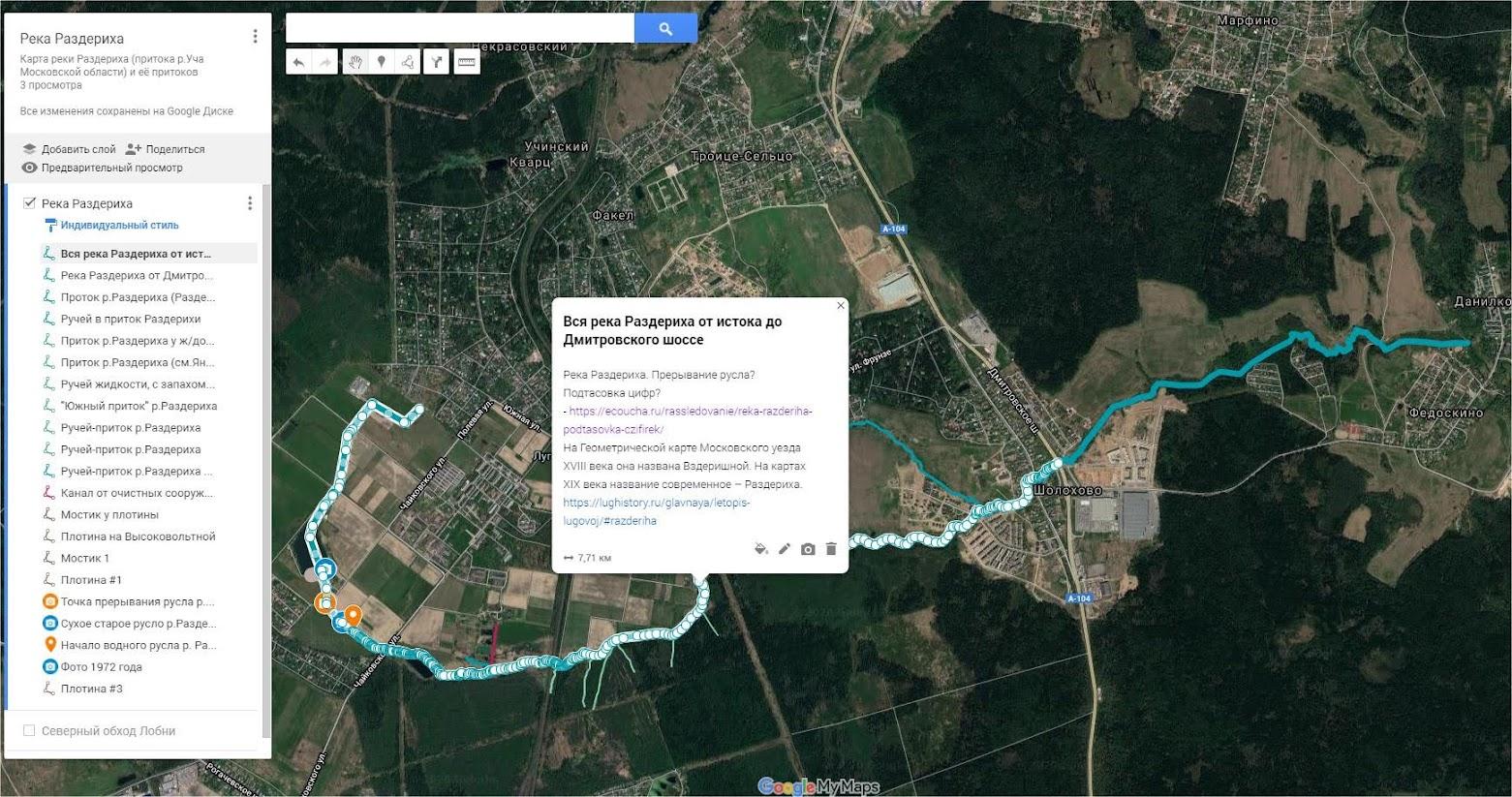Вся река Раздериха от истока до Дмитровского шоссе