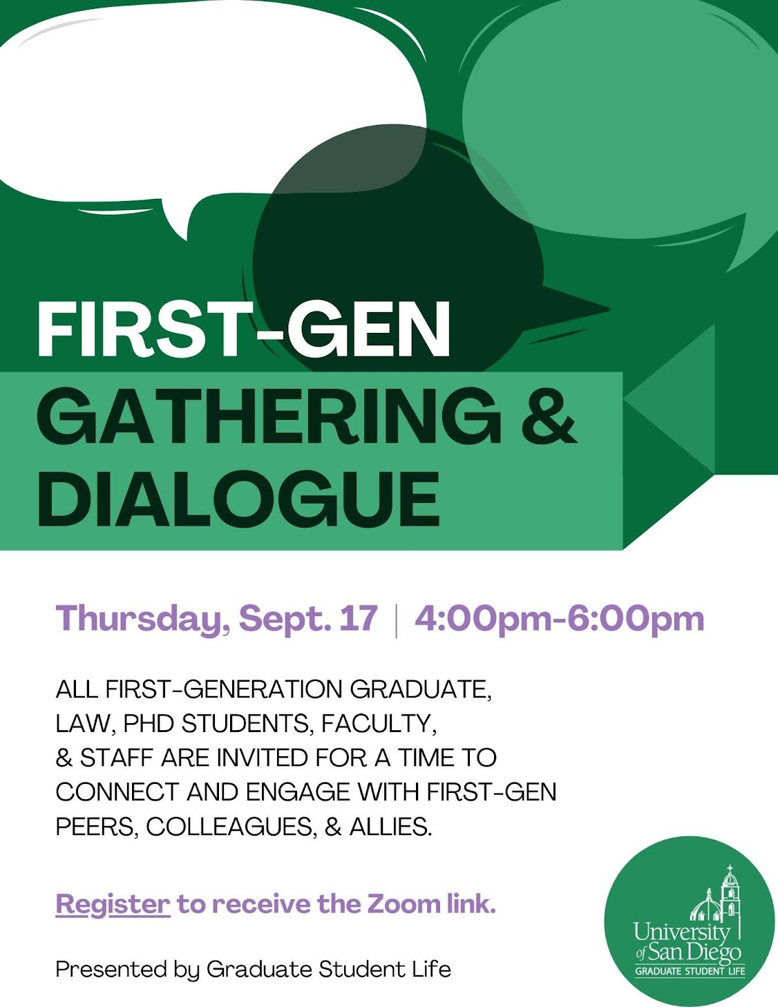 First-Gen Gathering & Dialogue, Thursday, September 17 from 4-6pm. Flyer with green speech bubbles and event information.