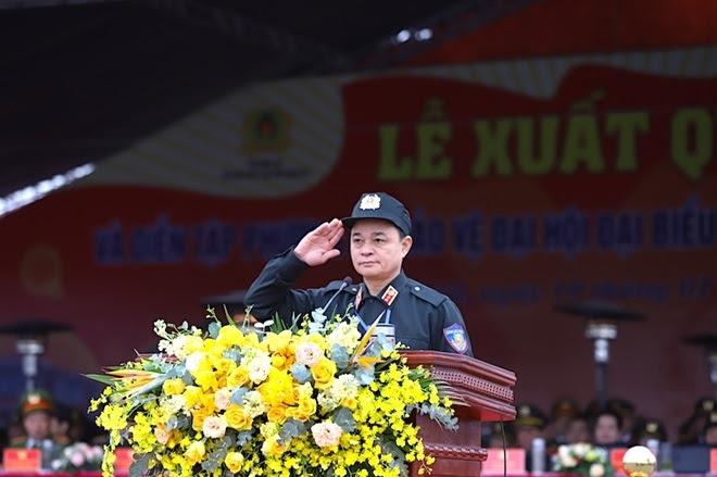 Tư lệnh CSCĐ Phạm Quốc Cương điều hành Lễ diễu hành, diễn tập bảo vệ Đại hội Đảng XIII.
