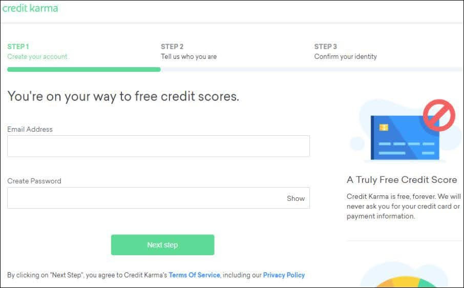 Credit Karma knows that its users are looking for their free credit score, and so they wisely offer it in exchange for an email address.