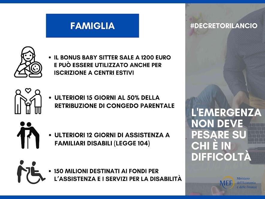 Dl rilancio: le misure per le famiglie italiane - photo credit: MEF