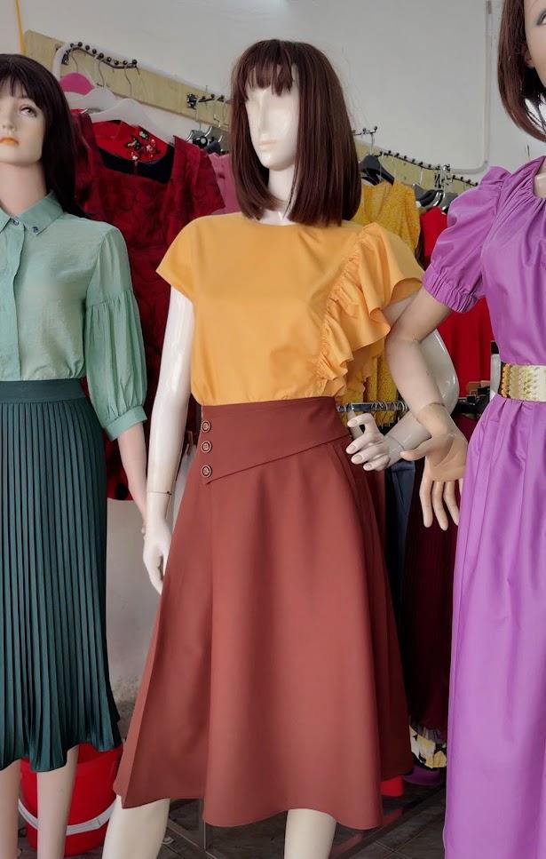 Review chất vải áo sơ mi nữ chân váy xòe công sở và dạo phố V761 thời trang thủy sài gòn