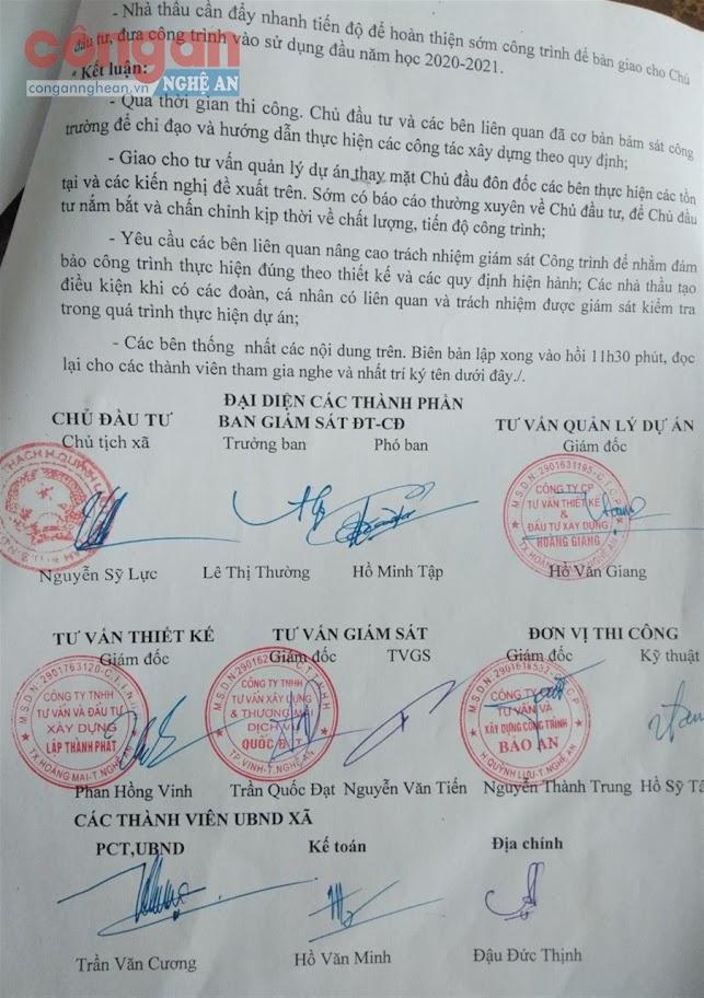 Văn bản kiểm tra của chủ đầu tư và các đơn vị liên quan              Dự án xây dựng Trường Mầm non xã Quỳnh Thạch