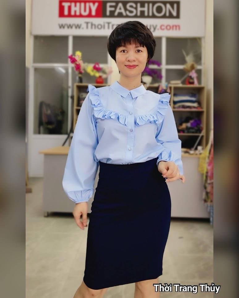 Áo sơ mi nữ công sở mix chân váy bút chì thời trang thủy quảng ninh