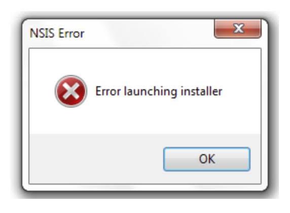 "Solved: How do I fix NSIS Error ""Error launching installer"" when installing software on Windows?"