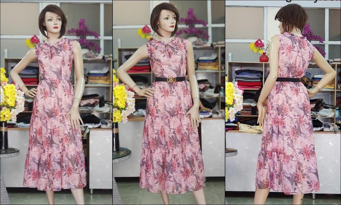 Váy xòe midi sát nách hoa mặc đi biển dự tiệc V725 thời trang thủy
