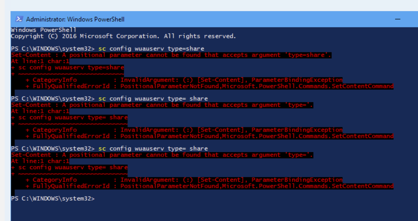 If you are running the sc command using PowerShell instead of the command prompt (cmd), you may receive this error.