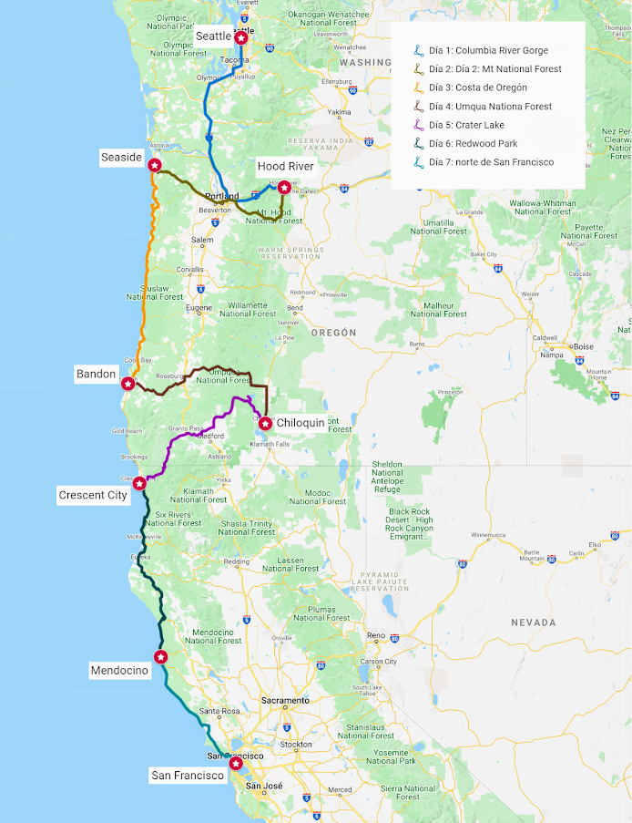 mapa roadtrip Oregón