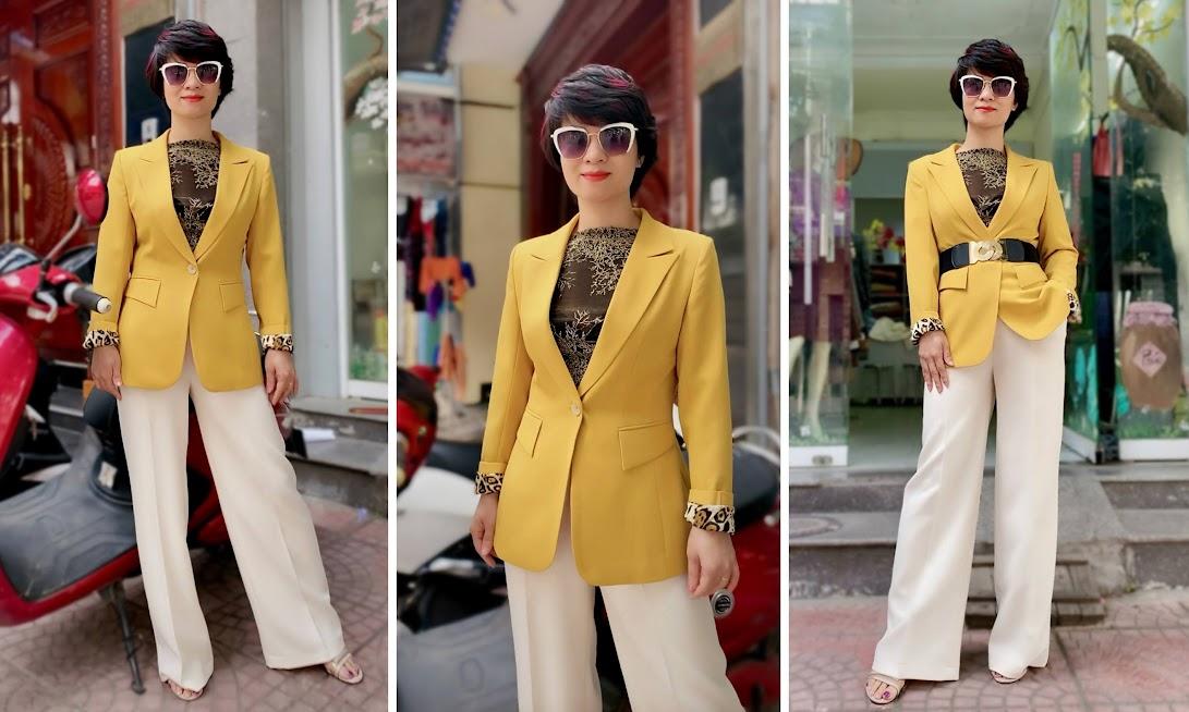 Áo vest nữ công sở màu vàng mix quần ống suông V741 thời trang thủy hải phòng