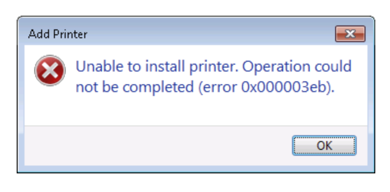 "[Solved] How to Fix Add Printer Error 0x000003eb ""Unable to install printer"""