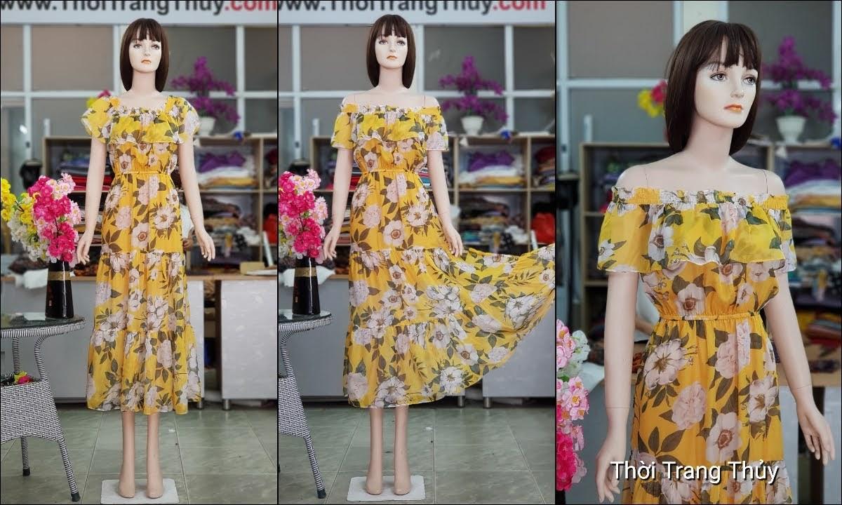 Váy maxi hoa vàng mặc được 2 kiểu để đi biển dự tiệc thời trang thủy