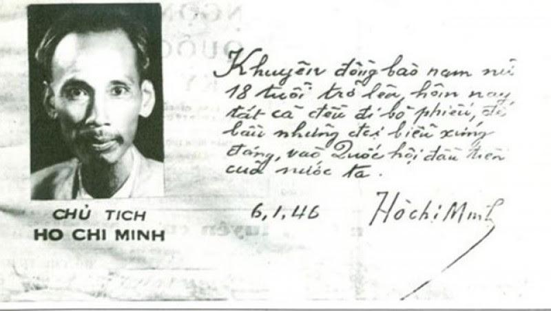 Lời kêu gọi đi bầu cử của Chủ tịch Hồ Chí Minh.