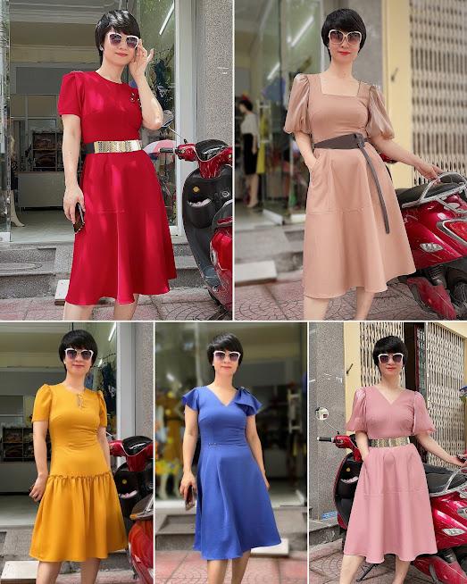 Review 5 kiểu váy xòe midi công sở dạo phố thời trang thủy hải phòng