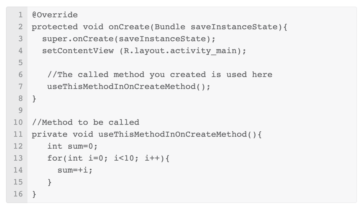 Example of how to use the method in Android Studio.