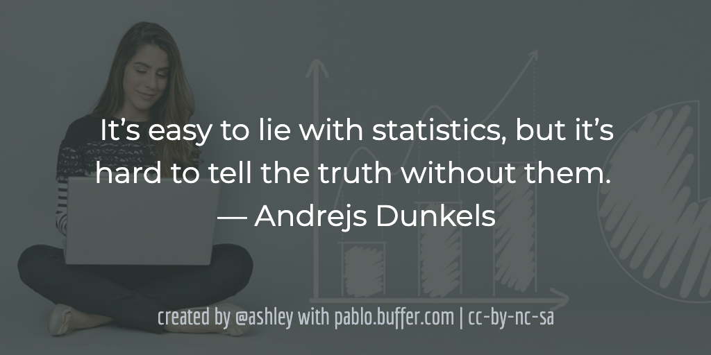 It's easy to lie with statistics, but it's hard to tell the truth without them. -- Andrejs Dunkels