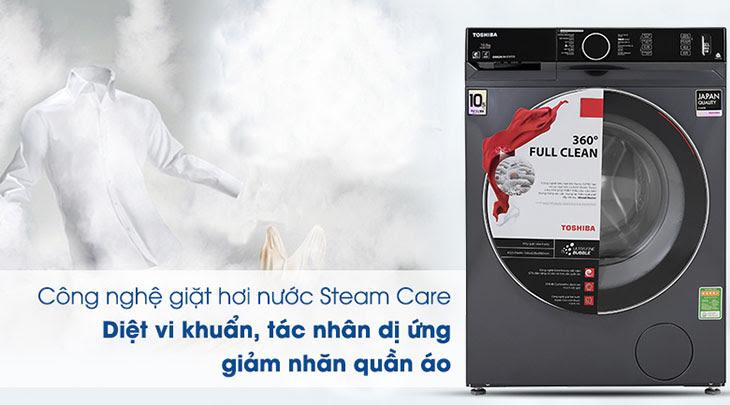 Công nghệ giặt hơi nước Steam Care trên máy giặt Toshiba