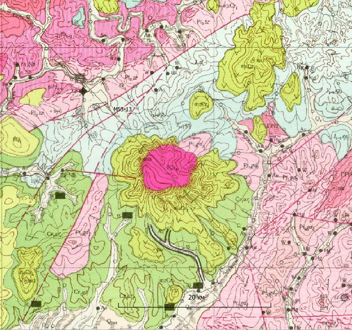 Фрагмент геологической карты масштаба 1:200 000