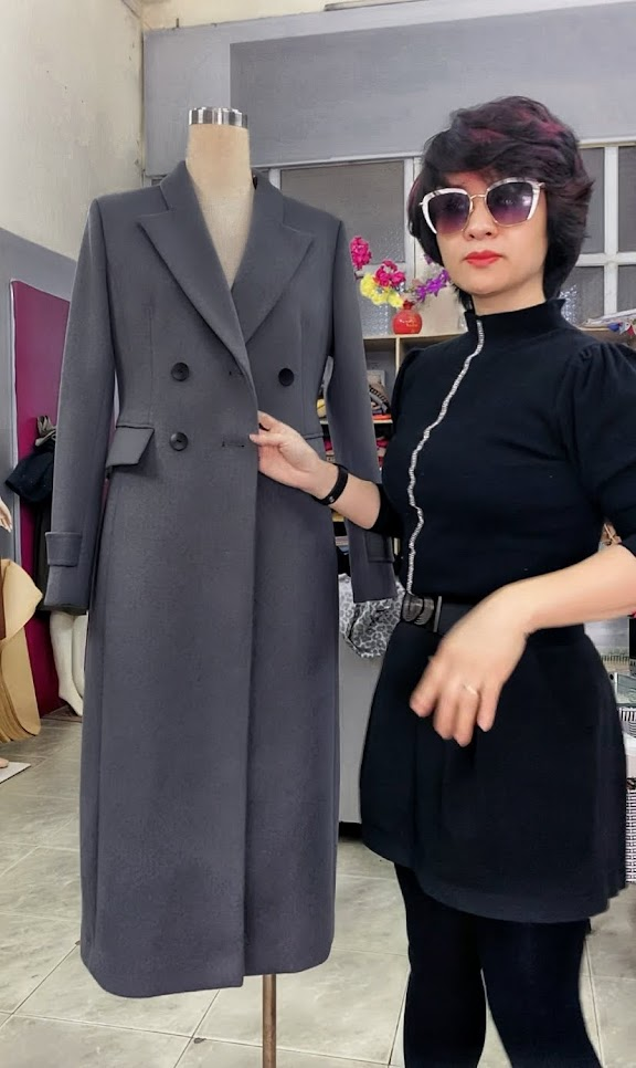 Áo khoác măng tô nữ vải dạ màu ghi xám V750 thời trang thủy hải phòng 5