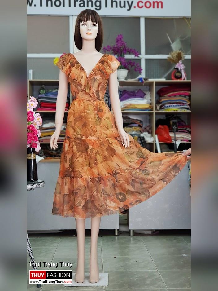 Váy đầm xòe mặc dự tiệc đi biển cổ chữ V717 thời trang thủy ở hải phòng